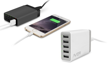 Avier Five-Port 52W/10.5A High-Powered Intelligent USB Charging Station