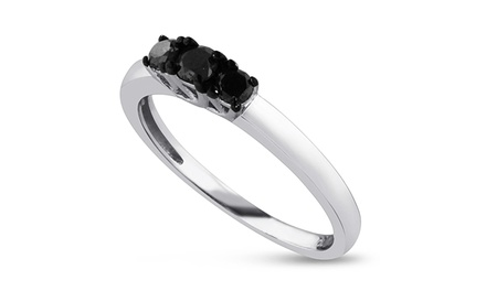 0.25 CTTW Triple Natural Black Diamond Ring in Sterling Silver