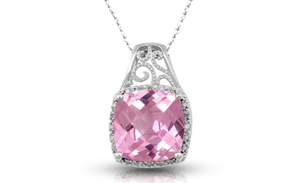 Jewelili Pink Sapphire and Diamond Pendant in Sterling Silver
