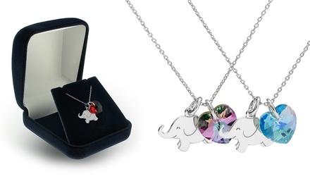 Colar com cristal Swarovski Elements em forma de coração e peça em forma de elefante por 14,99€ ou dois por 24,99€