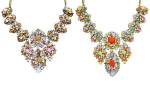 Crystal Floral Bib Necklace