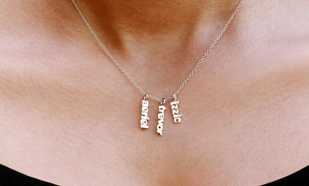 Necklace with Up to Three Custom Name-Plate Pendants from Monogramhub.com (Up to 75% Off). Free Shipping.