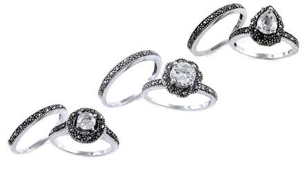 Genuine Marcasite and Cubic Zirconia Ring Set