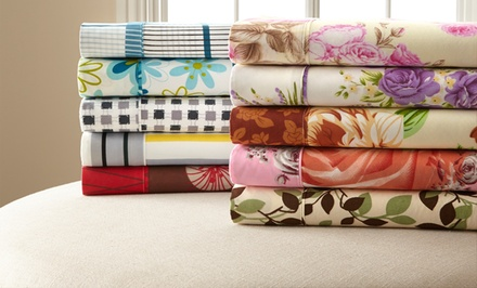 4-Piece Twin or 6-Piece Full, Queen, or King Palazzo Home Microfiber Assorted Printed Sheet Sets