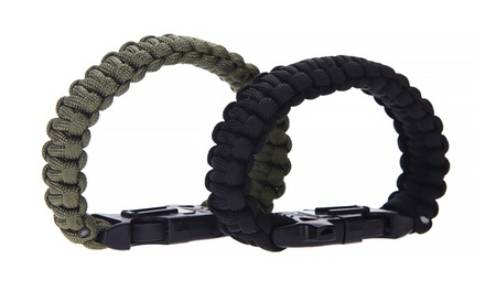 Nylon Survival Bracelet with Flint, Whistle, and Cutting Tool