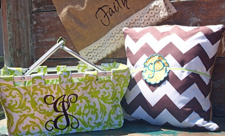$10 for $20 Worth of Monogramming at Tees into Treasures by Mominizer