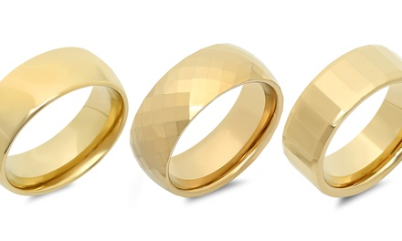 Men's 18K Gold-Plated Tungsten Rings. Multiple Options Available.