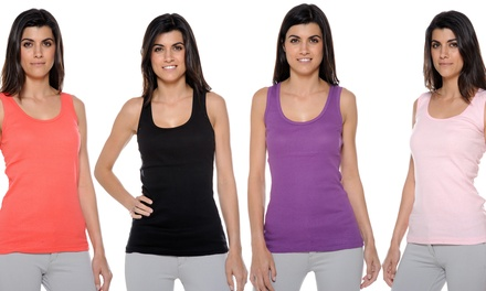 12-Pack of 100% Cotton Ribbed Tank Tops