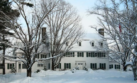 groupon daily deal - 1- or 2-Night Stay for Two withSnowshoe Rentals at Adair Country Inn & Restaurant in Bethlehem, NH