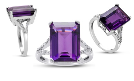 10-Carat Emerald-Cut Amethyst and Diamond Ring in Sterling Silver