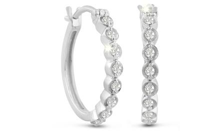 1/4 CTTW Bezel-Set Diamond Hoop Earrings in Sterling Silver