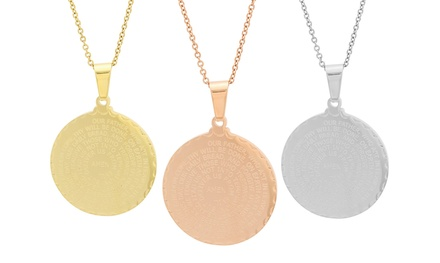 Our Father Prayer Pendant in 18K Gold Plated, Rose Gold Plated, or Stainless Steel