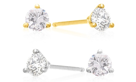 1 CTTW Genuine Diamond Stud Earrings in 14K White Gold or Yellow Gold