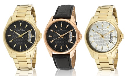 Lucien Piccard Men's Excalibur Leather or Stainless Steel Watch from $59.99–$79.99