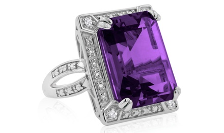 11.02 CTTW Emerald Shaped Amethyst and Diamond Ring In Solid Sterling Silver