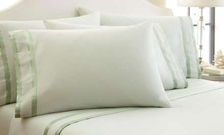1,000-Thread-Count Egyptian Cotton Rich 6-Piece Satin Ribbon Sheet Sets from $69.99–$79.99