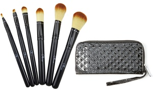 6-piece Makeup Brush Set With Crystal-studded Accents And Patent Wristlet