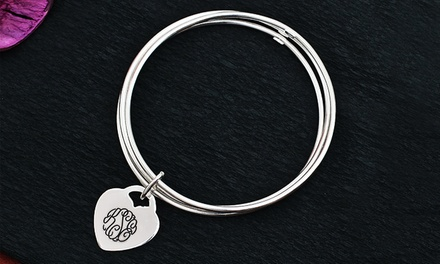 Gold- or Silver-Tone Slip-On Engraved Heart-Shaped Monogram Bracelet from $29.99–$34.99