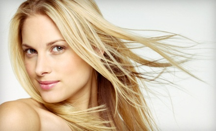 Cut, Blow-Dry, and Conditioning Treatment with Option for All-Over Color or Partial Highlights at Hair & There (51% Off)