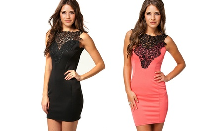 Jade and Juliet Lacy Cocktail Dress