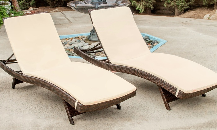 Set Of 2 Lakeport Outdoor Adjustable Chaise Lounge Chairs