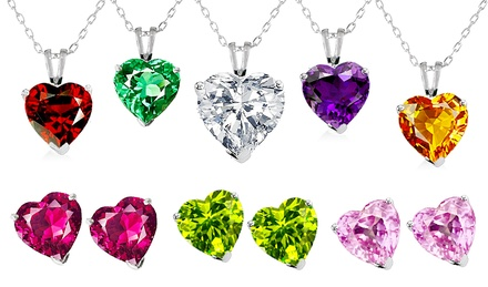 2-Piece Sterling Silver and Cubic Zirconia Heart Pendant and Stud Set