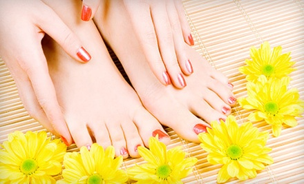 One or Three Traditional or Shellac Manicures with Regular Pedicures at Shampoo Salon (Up to 64% Off)