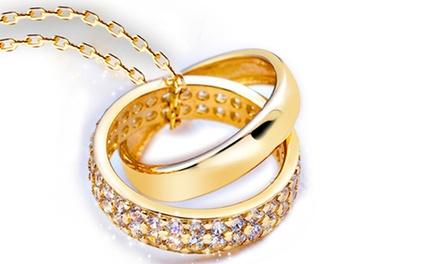 Pendente anel duplo banhado a ródio ou ouro amarelo por 11,99€ ou dois por 19,99€