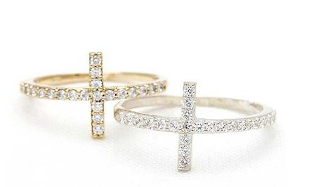 Swarovski Elements Crystal Sideways Cross Rings
