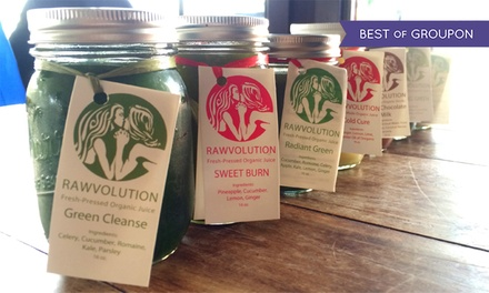 Cold-Pressed Juices and Cleanses at Rawvolution Café and Juice Bar (Up to 40% Off). Four Options Available.