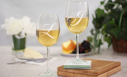 $19.98 for an Engraved Couples Wine-Goblet Set from GiftsForYouNow.com ($29.98 Value)