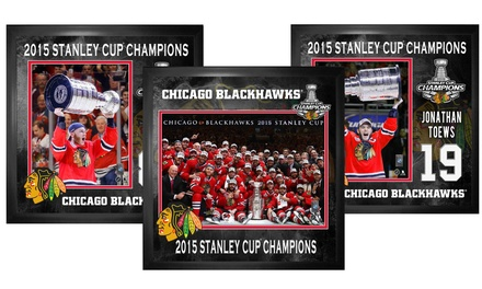 Chicago Blackhawks Stanley Cup Champions Framed Photos. Team, Patrick Kane, and Jonathan Toews Options Available.