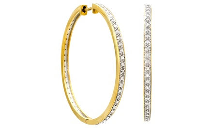 1/4-CTTW Diamond Hoop Earrings
