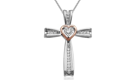 0.10 CTTW Diamond Cross Pendant Necklace with 10K Rose Gold Accent by Jewelili