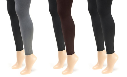 Muk Luks Women's 2-Pair Pack of Fleece-Lined Footless Tights