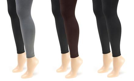 Muk Luks Women's 2-Pair Pack of Fleece-Lined Footless Tights