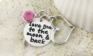 """""""love You To The Moon & Back"""" Sterling Silver Necklace From Jc Jewelry Design (up To 54% Off). Three Options Available."""
