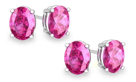 1 or 2 Pairs of Genuine Pink Sapphire Stud Earrings in Sterling Silver