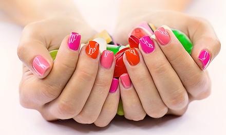 One Gel Mani-Pedi or Vinylux Mani-Pedi with Hot-Stone Massage at Diamond Nails Salon (Up to 44%Off)