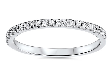 1/5 CTTW Round-Cut Micropavé Diamond Wedding Band in 14K White Gold by Bliss Diamond