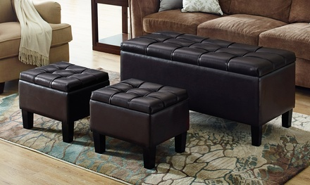 Dover 3-Piece Tufted Storage Ottoman Set