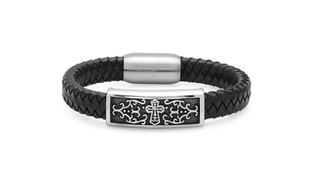 Men's Genuine-Leather Bracelet