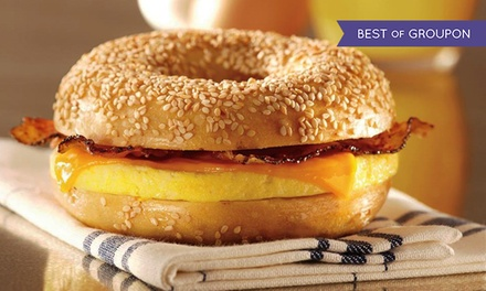$50 for a $100 Gift Card Good for Bagels, Bagel Sandwiches, Deli Food, and Drinks at Bruegger's Bagels