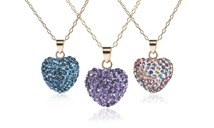 Crystal Heart Pendant with Swarovski Elements in 14K Gold