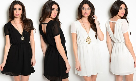 Flirty Fit And Flare Dress With Back Strap Detail
