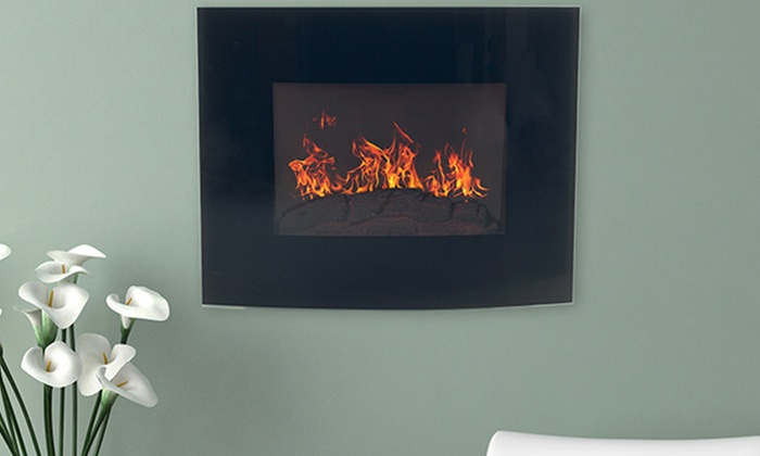 northwest black curved glass electric fireplace groupon