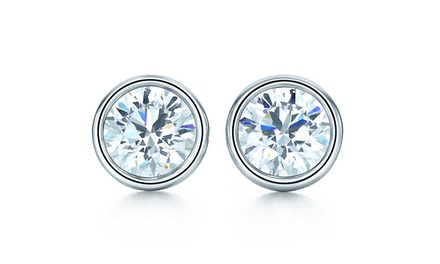 Bezel-Set CZ Stud Earrings