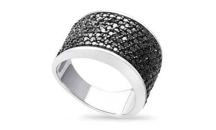 1 CTTW 8-Row Black Diamond Ring in Sterling Silver