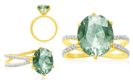 4.51 CTTW Oval-Cut Green Amethyst Ring with Diamond Accents