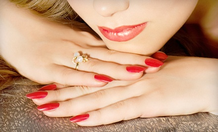 One or Three Shellac Manicures with Spa Pedicures or Acrylic-Nail Set from Heather Bailey at Haute-Monde (Up to 53% Off)